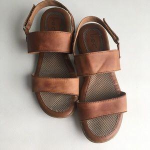 Boc leather double strap comfort sandals